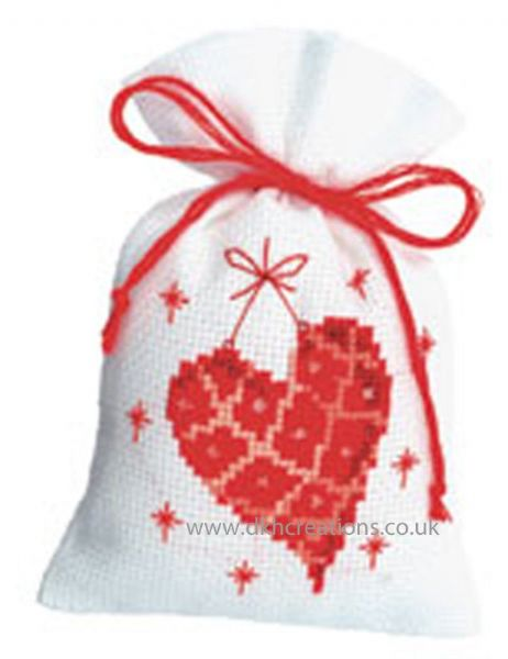 Heart Pot Pourri Bag Cross Stitch Kit